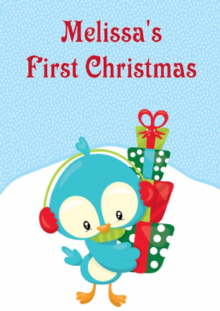 Personalised Baby Bird First Christmas Card